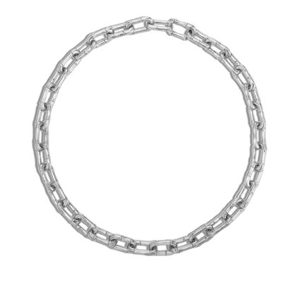 Bamboo 10MM Link Necklace in Silver