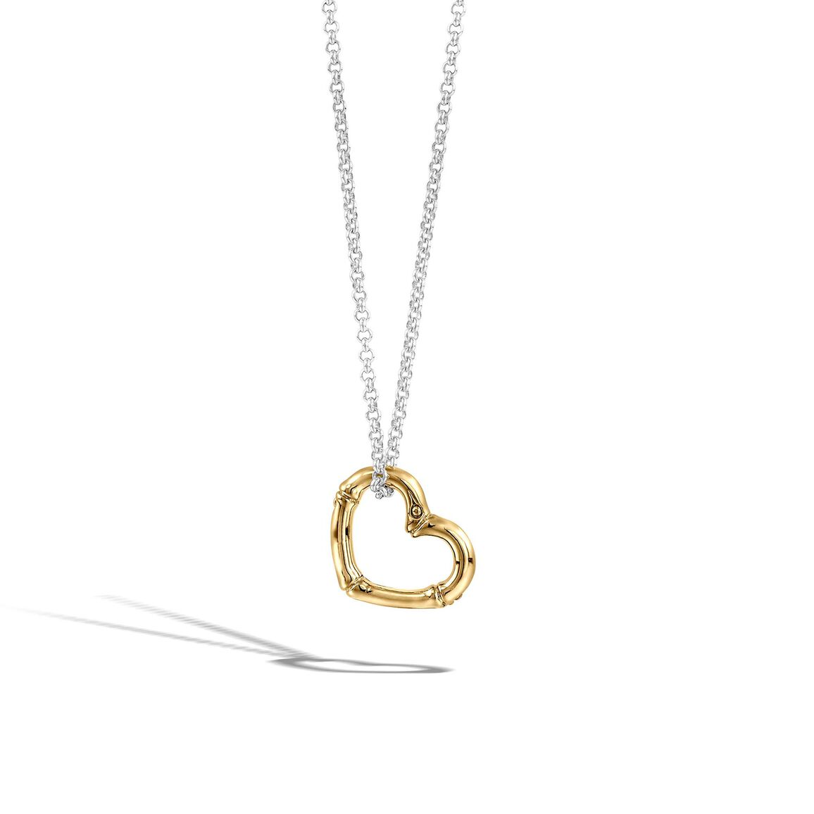 Bamboo Heart Pendant Necklace in Silver and 18K Gold