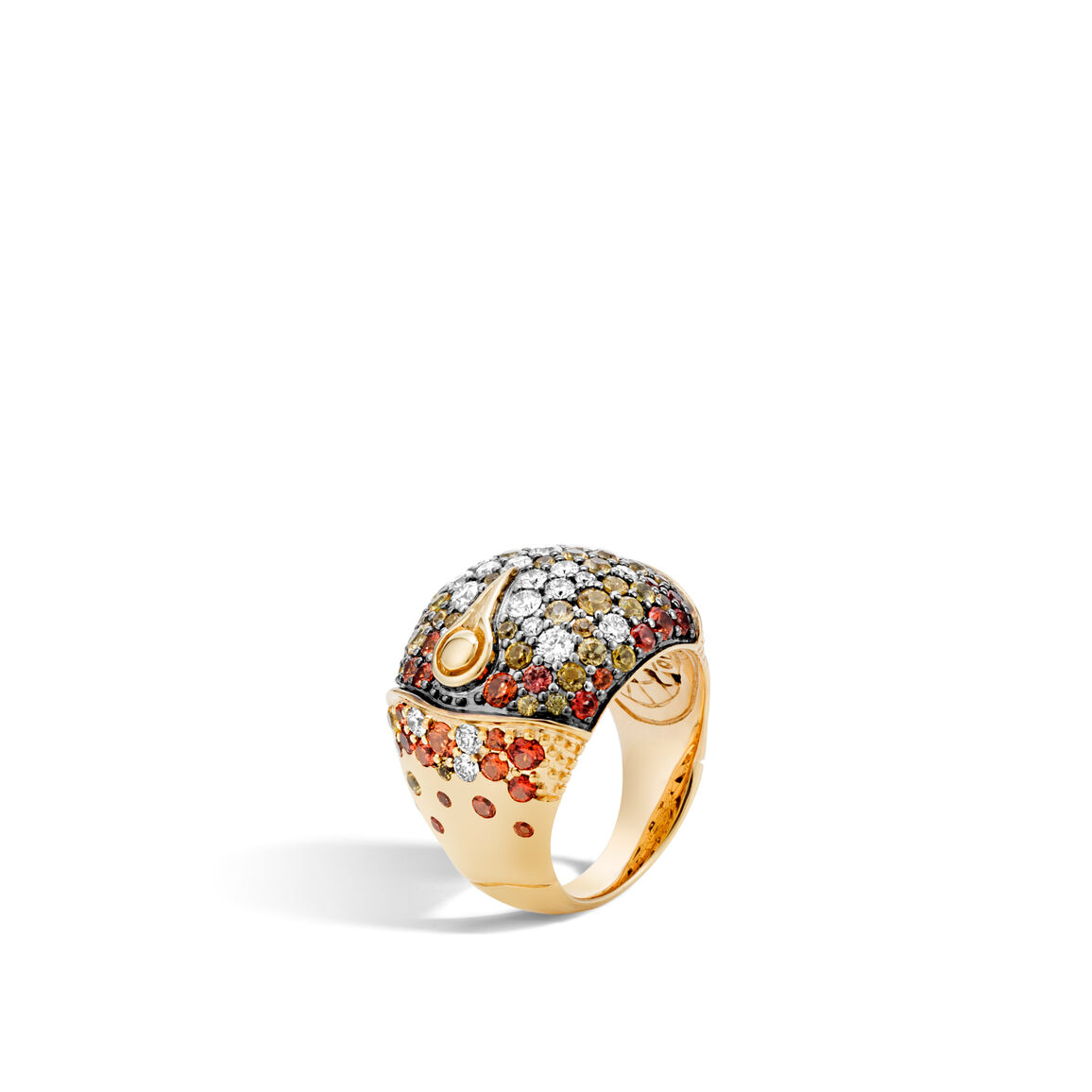 Bamboo Dome Ring in 18K Gold with Gemstone and Diamonds