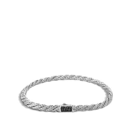 Twisted Chain 4MM Bracelet in Silver with Gemstone