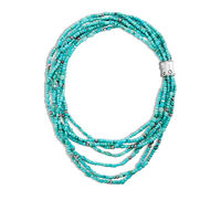 John Hardy - Bamboo Bead Necklace in Silver with Gemstone