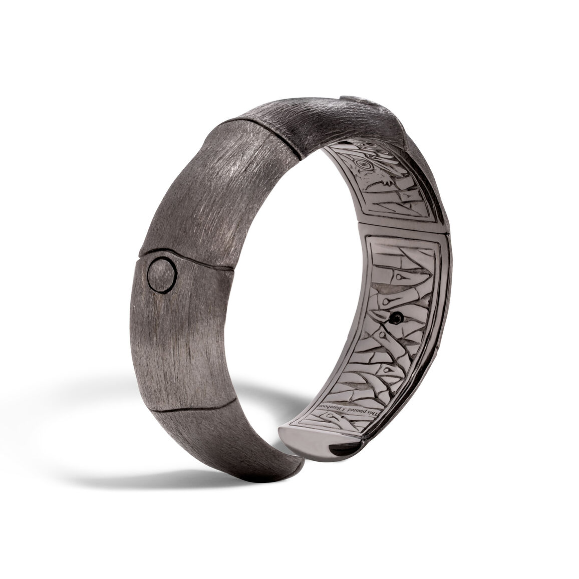 Bamboo 16MM Kick Cuff in Blackened Brushed Silver