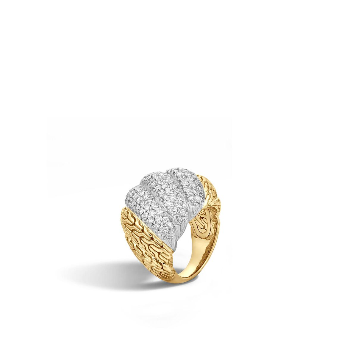 Twisted Chain Dome Ring in 18K Gold with Diamonds