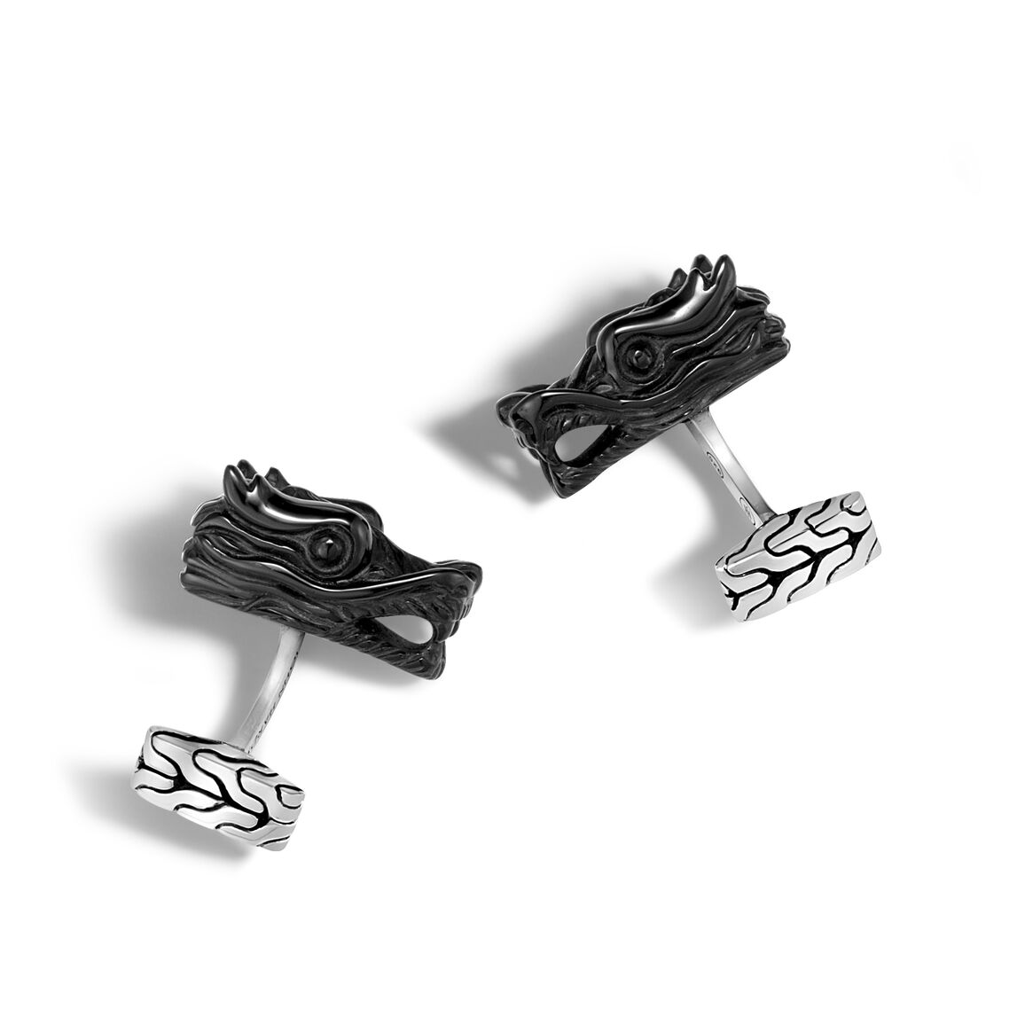 Legends Naga Cufflinks in Silver with Gemstone