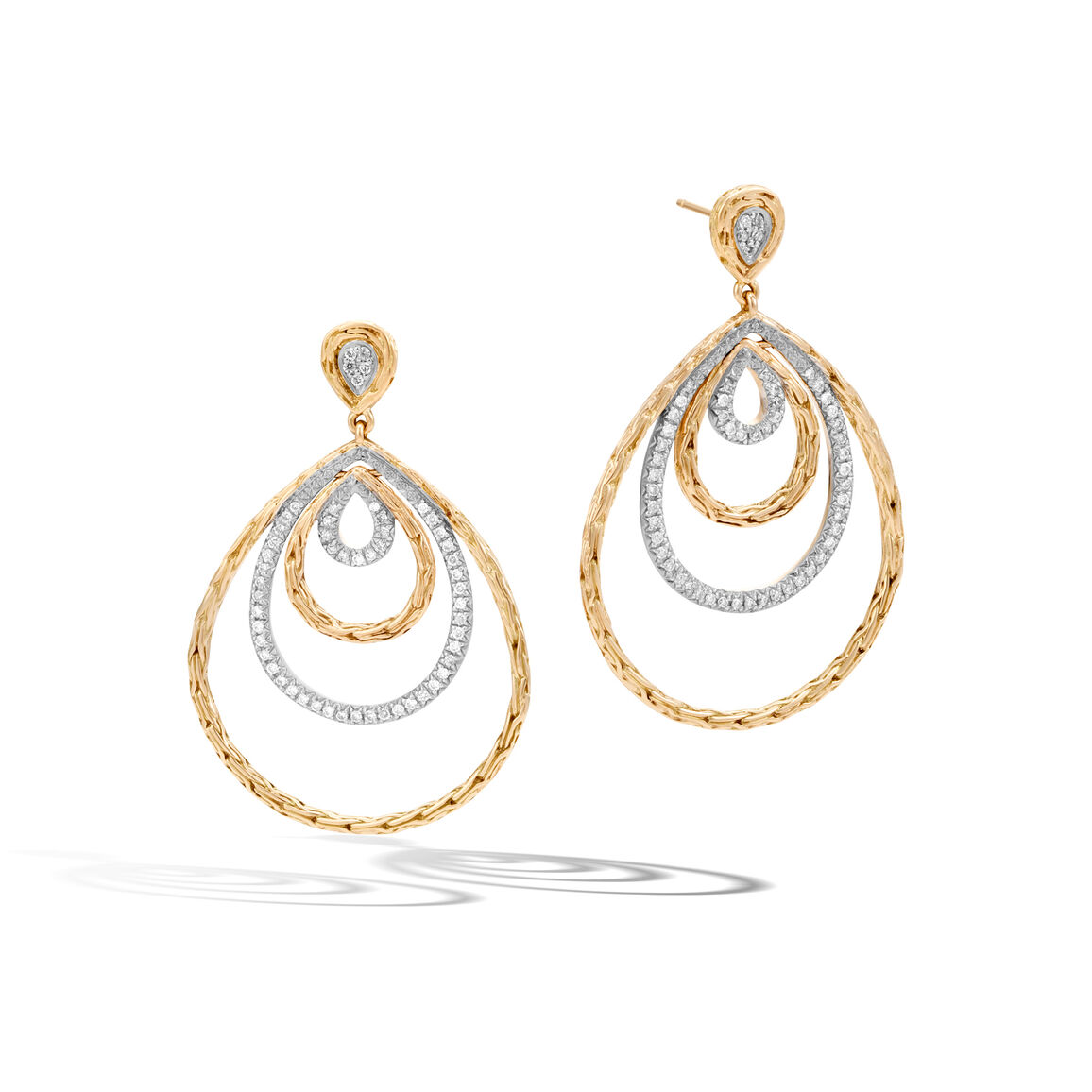 Classic Chain Drop Earring in 18K Gold with Diamonds