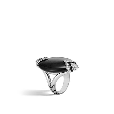 Modern Chain Ring in Silver with Gemstone and Diamonds