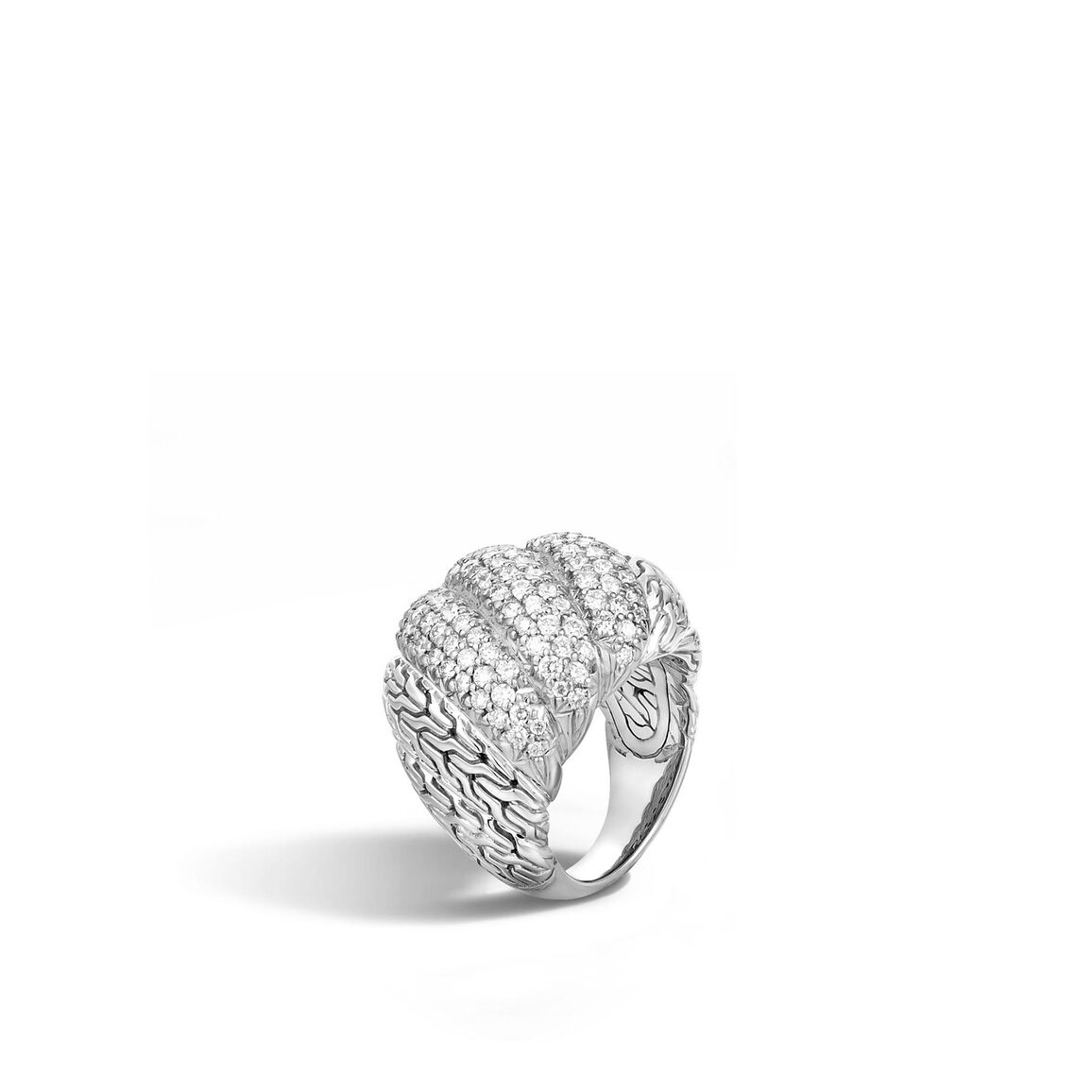 Twisted Chain Dome Ring in Silver with Diamonds