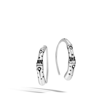 Bamboo Small Hoop Earring in Silver with Gemstone