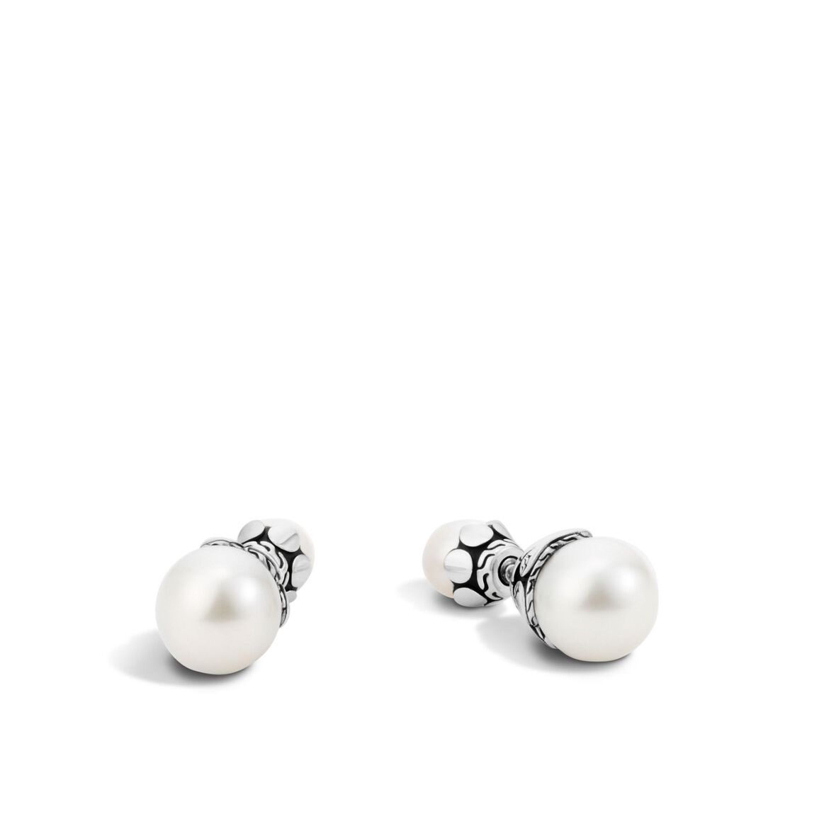 Dot Stud Earring in Silver with 11MM Pearl