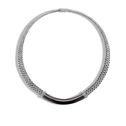 Classic Chain 9MM Graduated Necklace in Silver and Wood