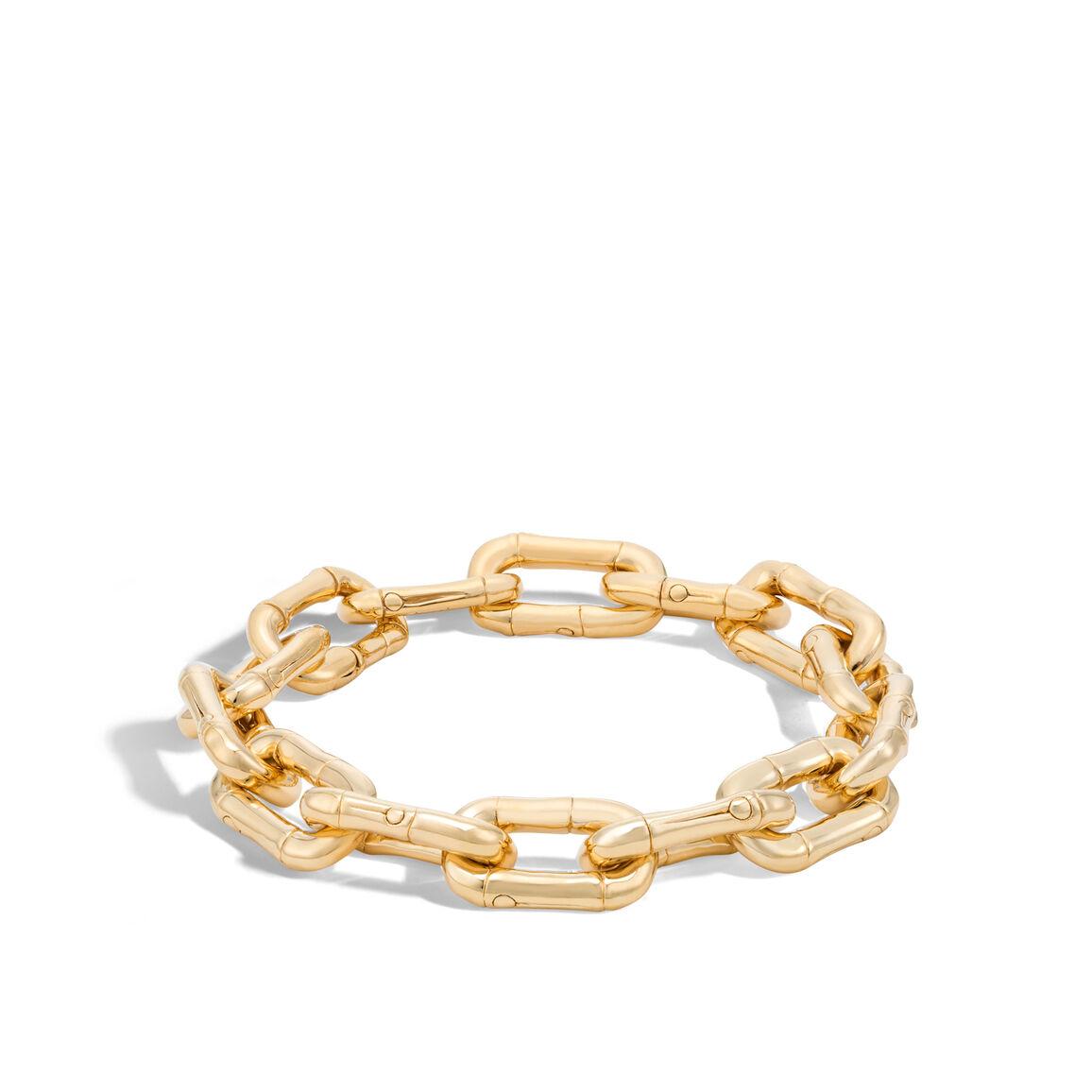 Bamboo Link Bracelet in 18K Gold