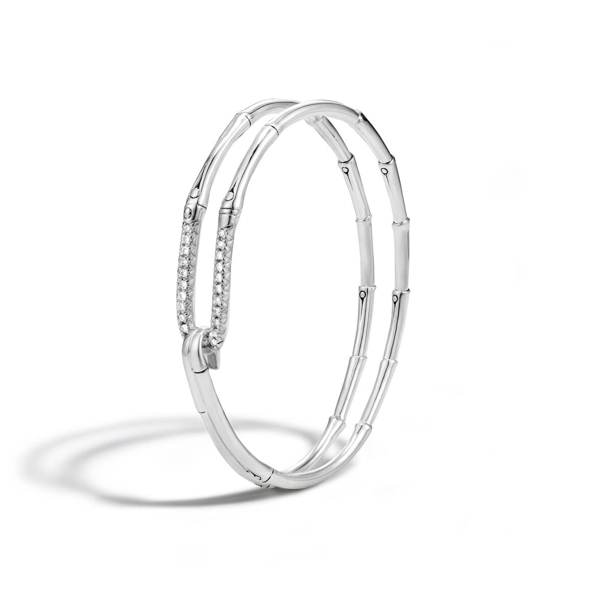 Bamboo Bangle in Silver with Diamonds