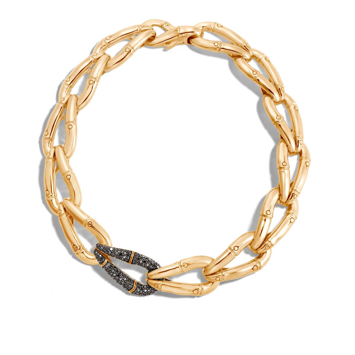 Bamboo 21MM Link Necklace in Silver with Diamonds
