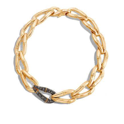 Bamboo 23MM Link Necklace in 18K Gold with Black Diamonds