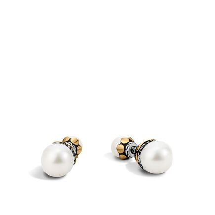 Dot Reversible Stud Earring, Silver, 18K Gold, 7MM Pearl