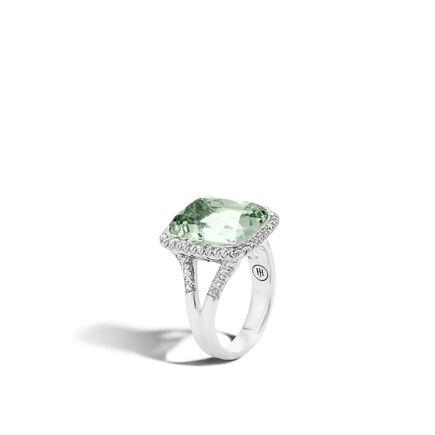 Classic Chain Magic Cut Ring, Silver, 15x12MM Gems, Diamonds