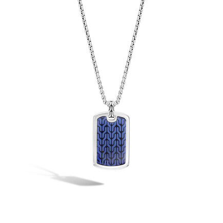 Classic Chain Dog Tag Pendant Necklace in Silver with Enamel