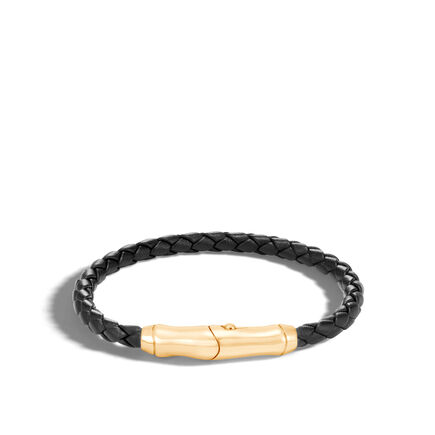 Bamboo Bracelet in 18K with 5MM Black Leather
