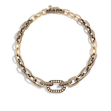 Dot Graduated Link Necklace in 18K Gold