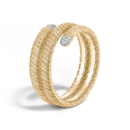 Classic Chain Double Coil Bracelet in 18K Gold with Diamonds