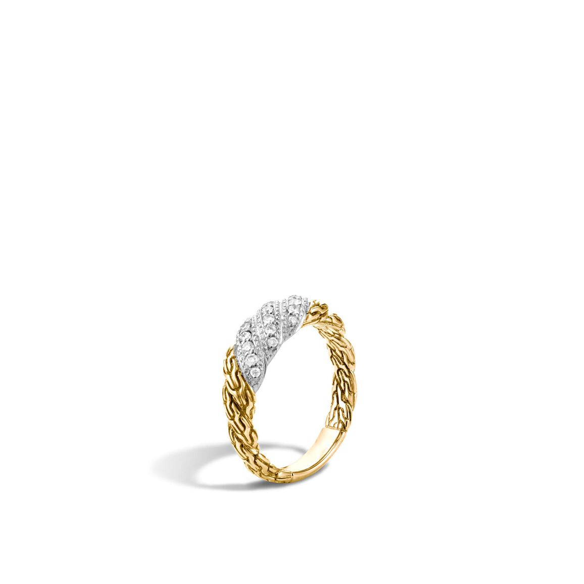 Twisted Chain 6.5MM Band Ring in 18K Gold with Diamonds