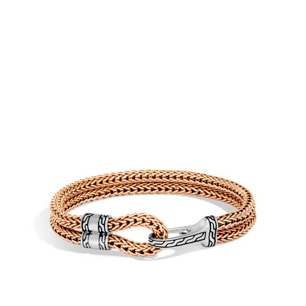 Classic Chain Hook Clasp Bracelet In Silver and Bronze