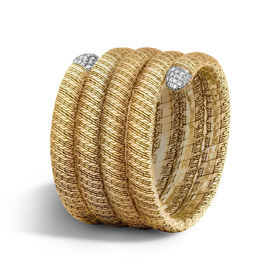 Classic Chain Multiple Coil Bracelet, 18K Gold with Diamonds