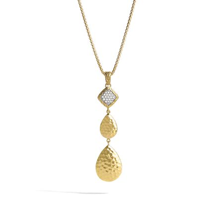 Classic Chain Pendant Necklace, Hammered 18K Gold, Diamonds