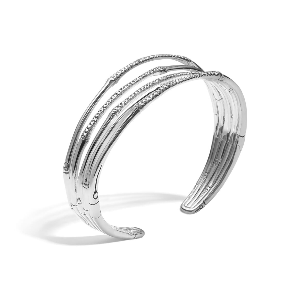 Bamboo 21MM Cuff in Silver with Diamonds
