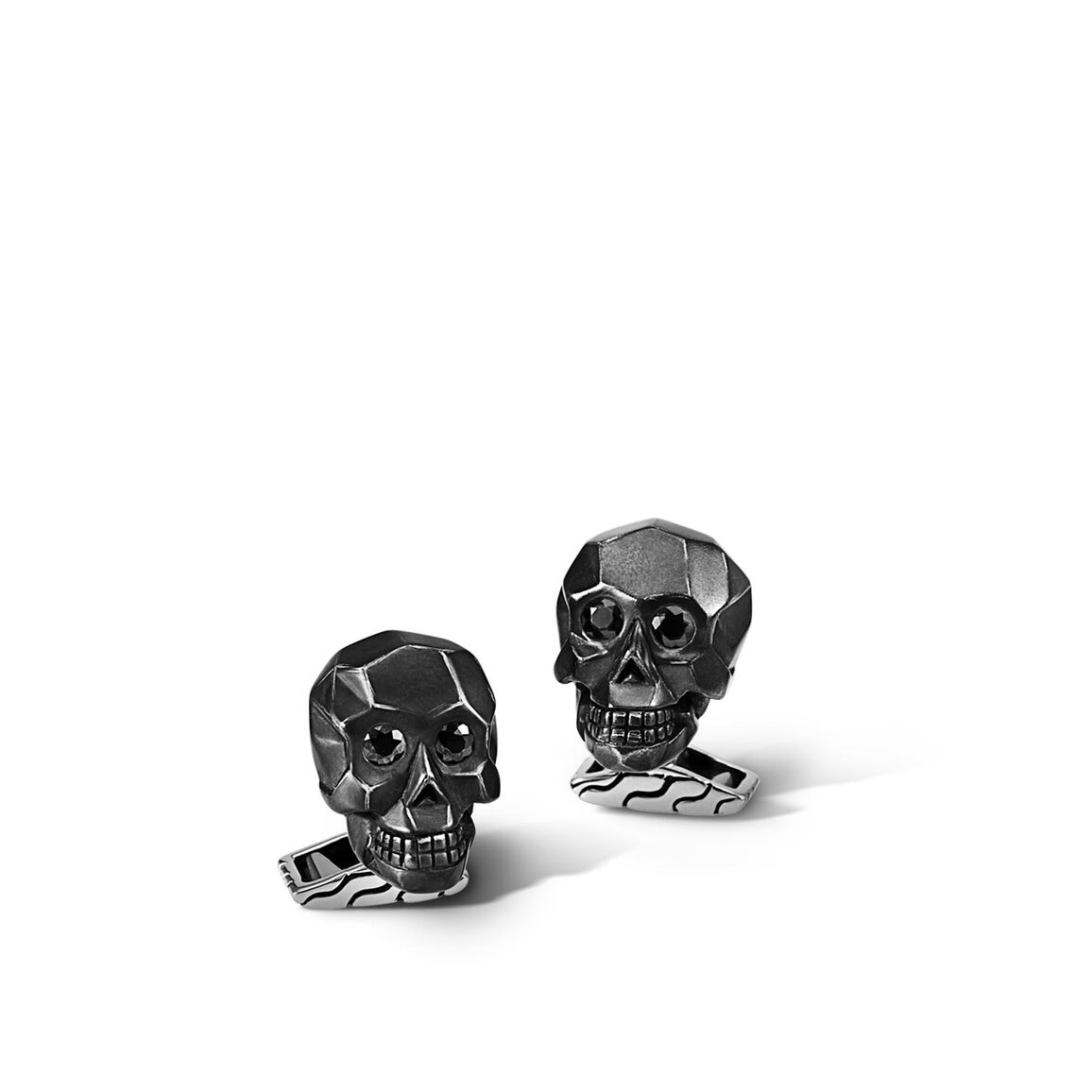 Classic Chain Skull Cufflinks in Ruthenium Silver, Gemstone