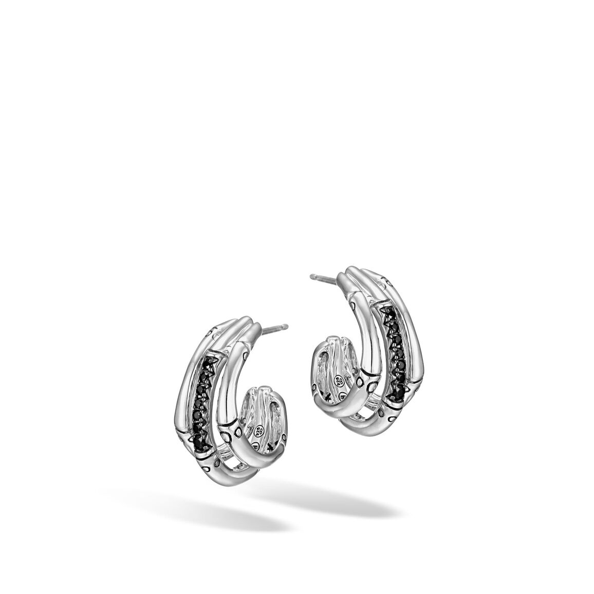 Bamboo Small J Hoop Earring in Silver with Gemstone