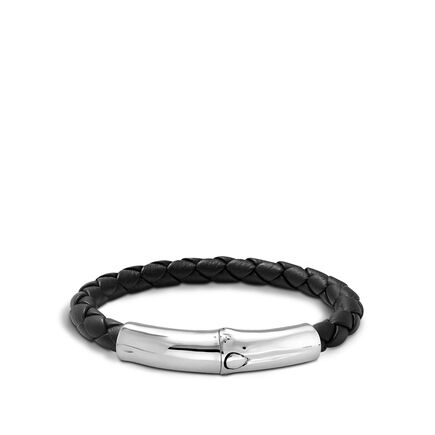 Bamboo 7MM Station Bracelet in Silver and Leather