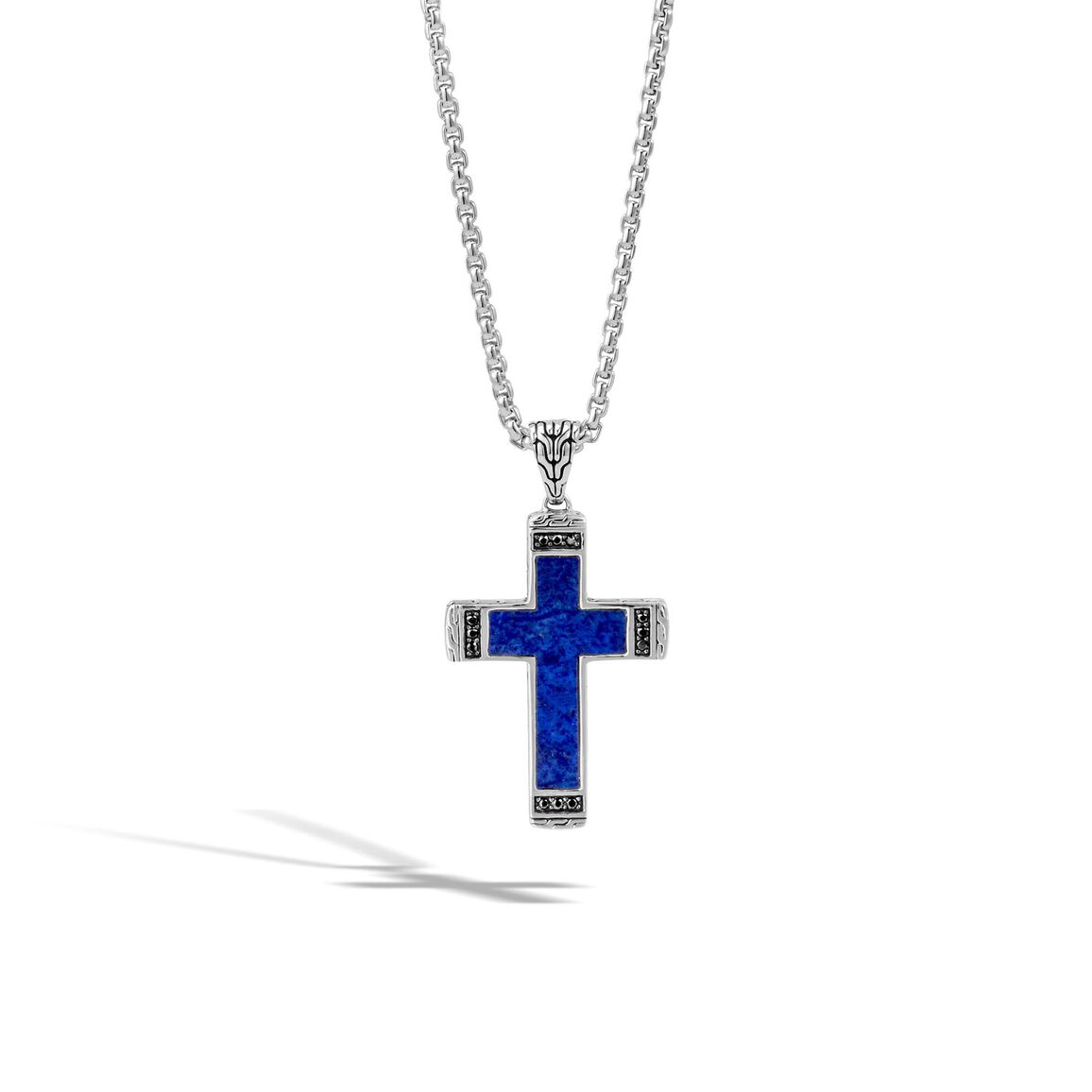 Classic Chain Cross Necklace with Gemstone