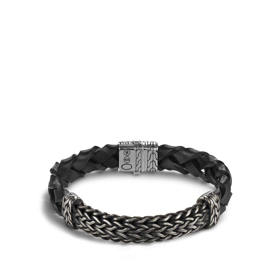 Classic Chain 12MM Station Bracelet in Silver and Leather