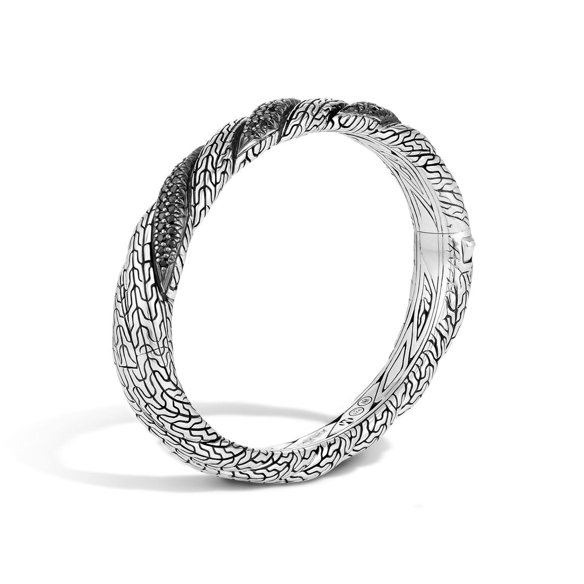 TwistedChain 8.5MM Hinged Bangle in Silver with Gemstone