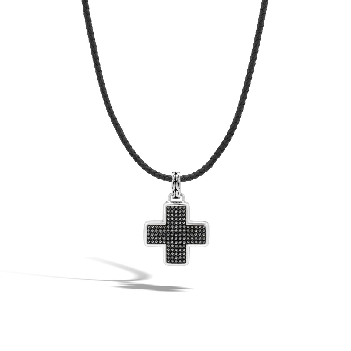 Chain Jawan Cross Pendant in Silver and Leather