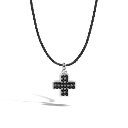 Chain Jawan Cross Necklace in Silver and Leather