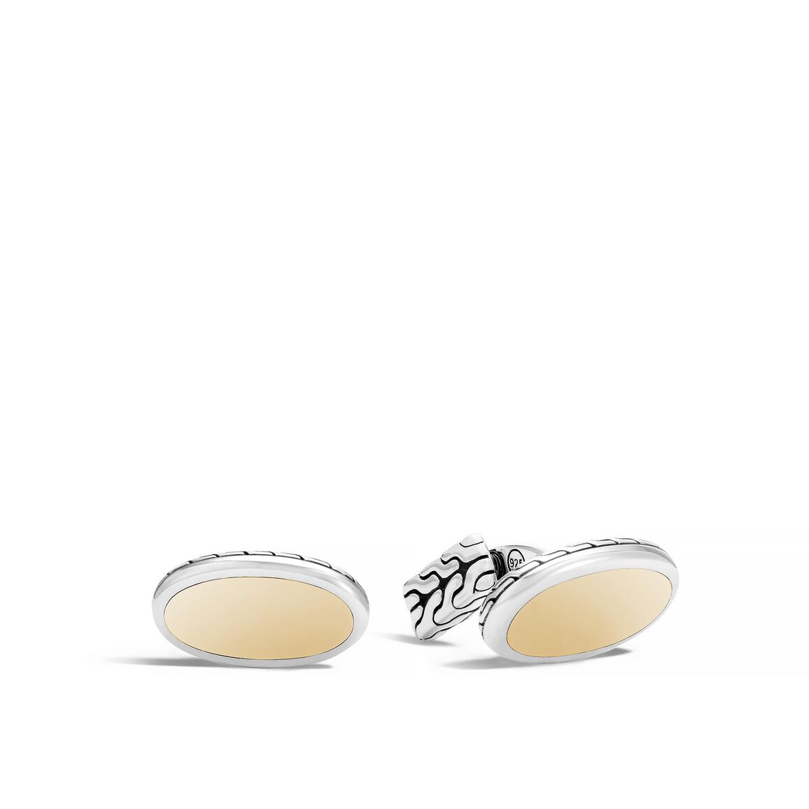 Classic Chain Oval Cufflinks in Silver and 18K Gold