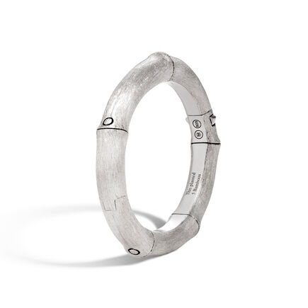 Bamboo 8MM Hinged Bangle in Brushed Silver