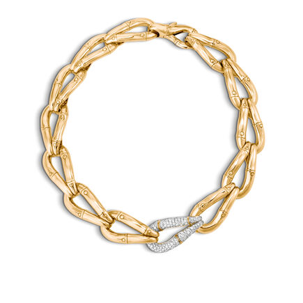 Bamboo 21MM Link Necklace in 18K Gold with Diamonds