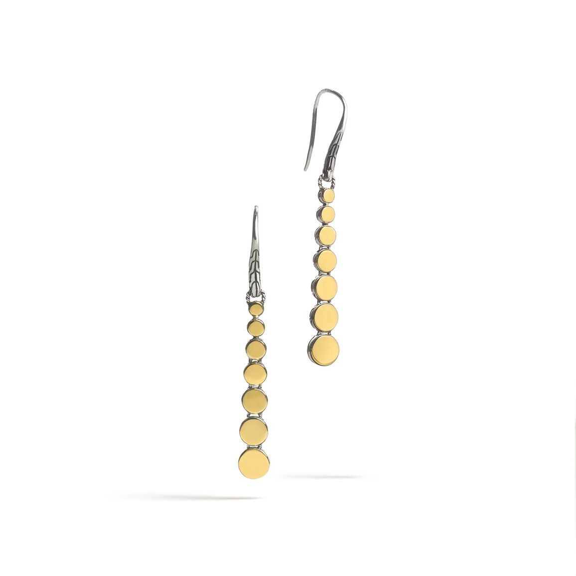 Dot Linear Drop Earring in Silver and 18K Gold