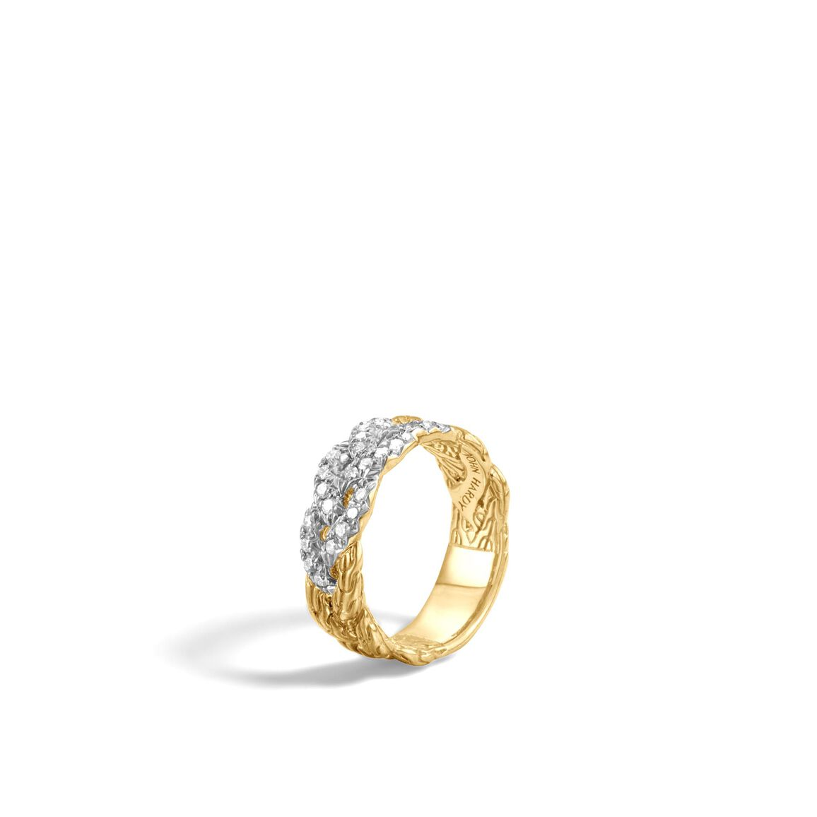 Braided Chain 7MM Band Ring in 18K Gold with Diamonds
