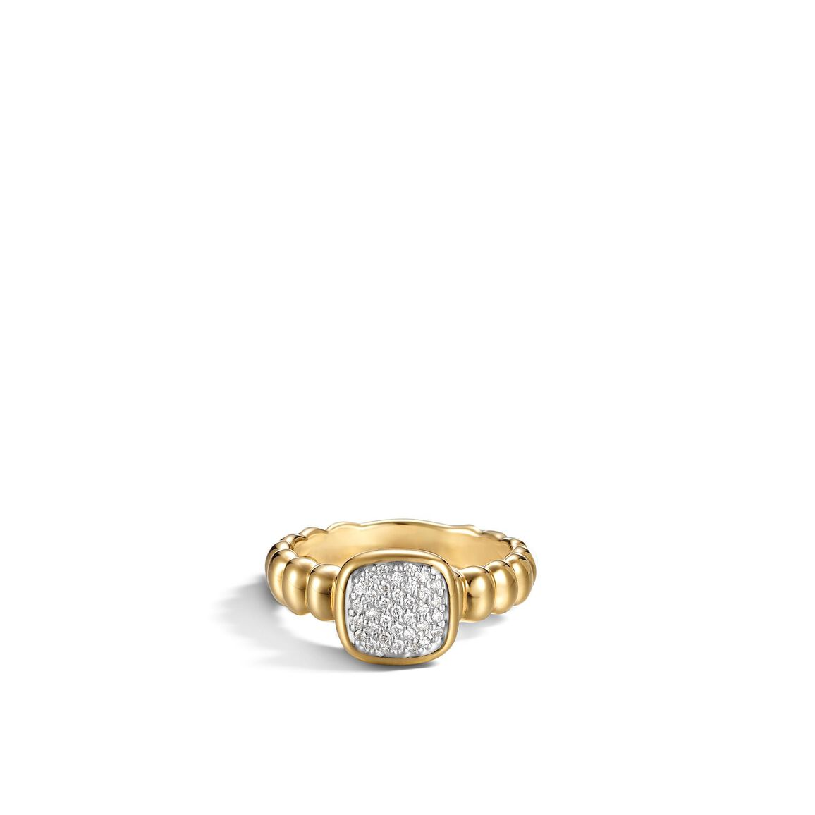 Classic Chain Square Station Slim Band Ring