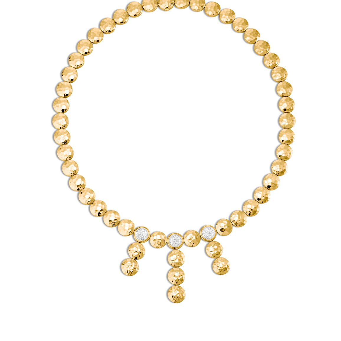 Dot Drop Necklace in Hammered 18K Gold with Diamonds