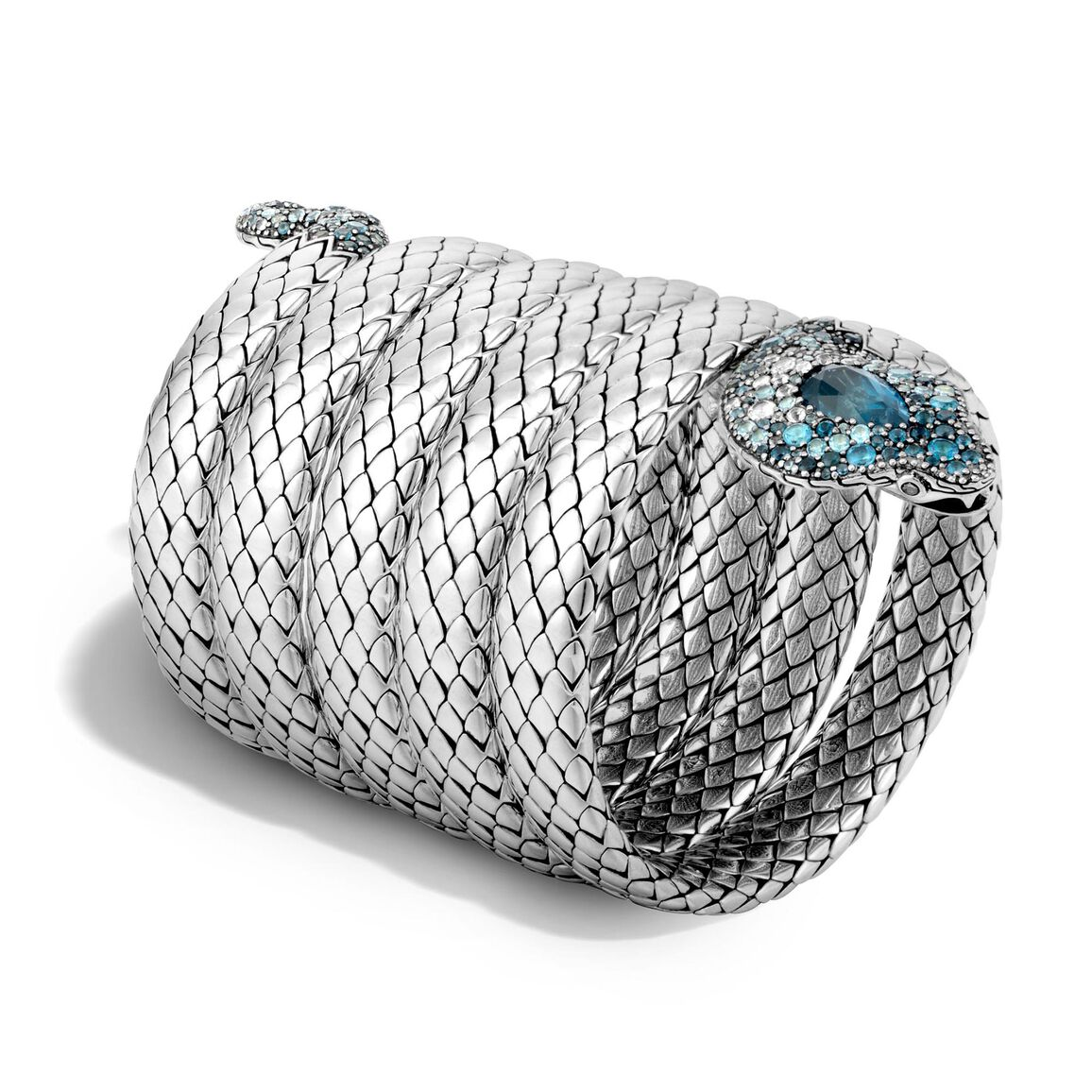 Legends Cobra Multiple Coil Bracelet in Silver with Gemstone