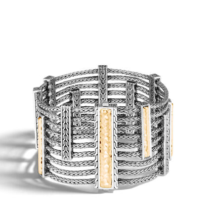 Chain Heritage Multi Row Bracelet, Silver and 18K Gold