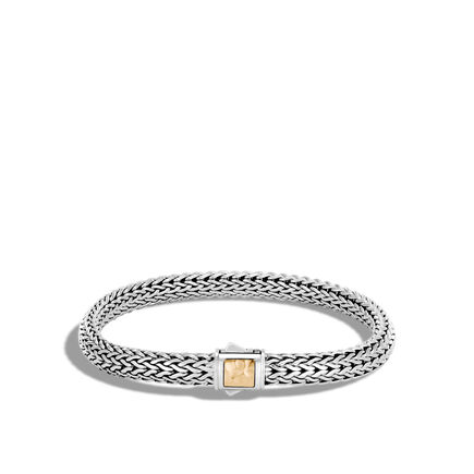 Classic Chain 6.5MM Hammered Clasp Bracelet, Silver, 18K