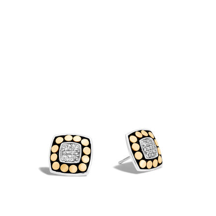 Dot Stud Earring in Silver and 18K Gold with Diamonds