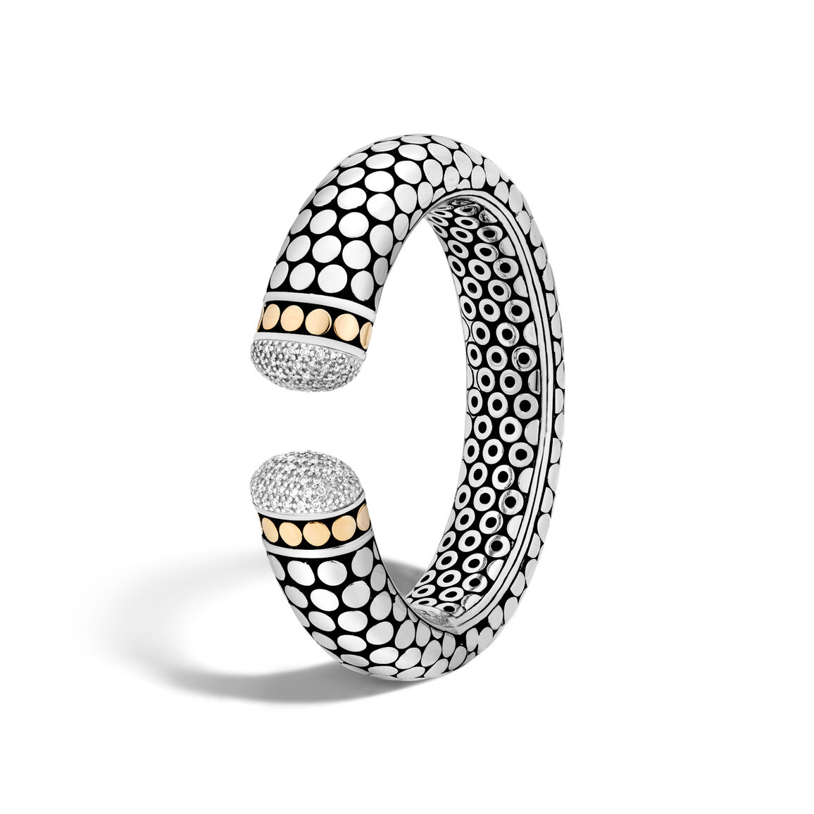 Dot 17.5MM Kick Cuff in Silver and 18K Gold with Diamonds