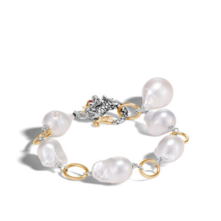 Legends Naga Link Bracelet in Silver and 18K Gold, Pearl